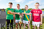 Representing the 4 semi finalists at the draw for the Senior Hurling Championship in the Tralee Bay Wetlands on Monday evening. Barry Shanahan (Lixnaw), Daniel Collins (Kilmoyley), Tommy Barrett (Causeway) and  Paud Costello (Ballyduff),