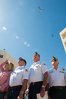 (left to right) Russ Dohrmann, Norm Sumner and George Focht, stand and watch a flyover at the end of the 9/11 ceremonies at Huntington Beach. The three are members of the American Legion post 133 in Huntington Beach.<br /> <br /> ///ADDITIONAL INFORMATION: hb.0915.memorial &ndash; 9/11/16 &ndash; MICHAEL KITADA, ORANGE COUNTY REGISTER - _DSC8670.jpg - <br /> Summary: The Huntington Beach Police Officers' Foundation's 9-11 Memorial Committee unveils a $200,000 monument including steel from the toppled World Trade Center, at City Hall. The event will include music, a flyover, New York police and others with connections to the 9-11 rescue and victims of the tragedy.