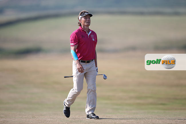 Bernhard Langer (GER) totally in command of his game during Round One of the 2014 Senior Open Championship presented by Rolex from Royal Porthcawl Golf Club, Porthcawl, Wales. Picture:  David Lloyd / www.golffile.ie