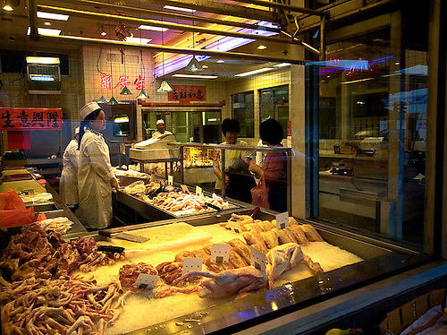 A butcher shop in San Francisco's Chinatown.