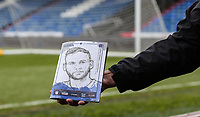 Oldham Athletic fan holds up a match programme ahead of the Sky Bet League 1 match between Oldham Athletic and Bristol Rovers at Boundary Park, Oldham, England on 30 December 2017. Photo by Juel Miah / PRiME Media Images.