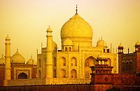 Taj Mahal, Agra, India. Early morning light. Viewed from across the River Yamuna. .