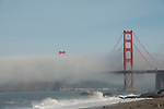 Golden Gate Bridge San Francisco with the morning mist