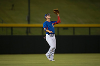 AZL Cubs 2 left fielder Carlos Pacheco (28) prepares to catch a fly ball during an Arizona League game against the AZL Rangers at Sloan Park on July 7, 2018 in Mesa, Arizona. AZL Rangers defeated AZL Cubs 2 11-2. (Zachary Lucy/Four Seam Images)