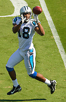 Carolina Panthers wide receiver D.J. Hackett (18) makes a catch against Kansas City Chiefs during a NFL football game at Bank of America Stadium in Charlotte, NC.