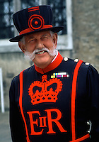 Portrait of a smiling Beefeater guard in traditional dress. London, England.