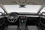 Stock photo of straight dashboard view of a 2020 Volkswagen Passat Style Business 4 Door Sedan