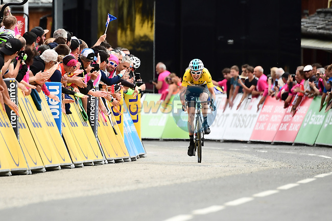 Race leader Geraint Thomas (WAL) Team Sky Yellow Jersey approaches the finish line in 2nd place at the end of Stage 6 of the 2018 Criterium du Dauphine 2018 running 110km from Frontenex to La Rosiere, France. 9th June 2018.<br /> Picture: ASO/Alex Broadway | Cyclefile<br /> <br /> <br /> All photos usage must carry mandatory copyright credit (© Cyclefile | ASO/Alex Broadway)
