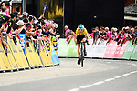 Race leader Geraint Thomas (WAL) Team Sky Yellow Jersey approaches the finish line in 2nd place at the end of Stage 6 of the 2018 Criterium du Dauphine 2018 running 110km from Frontenex to La Rosiere, France. 9th June 2018.<br /> Picture: ASO/Alex Broadway | Cyclefile<br /> <br /> <br /> All photos usage must carry mandatory copyright credit (&copy; Cyclefile | ASO/Alex Broadway)