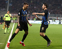 Calcio, Serie A: AC Milan - Inter Milan, Giuseppe Meazza (San Siro) stadium, Milan on 17 March 2019.  <br /> Inter's Matias Vecino (l) celebrates after scoring with his teammate Matteo Poitano (r) during the Italian Serie A football match between Milan and Inter Milan at Giuseppe Meazza stadium, on 17 March 2019. <br /> UPDATE IMAGES PRESS/Isabella Bonotto