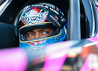 Oct 13, 2018; Concord, NC, USA; NHRA top fuel driver Antron Brown during qualifying for the Carolina Nationals at zMax Dragway. Mandatory Credit: Mark J. Rebilas-USA TODAY Sports