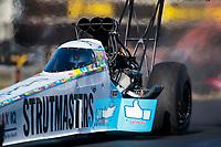 Feb 7, 2020; Pomona, CA, USA; NHRA top fuel driver Justin Ashley during qualifying for the Winternationals at Auto Club Raceway at Pomona. Mandatory Credit: Mark J. Rebilas-USA TODAY Sports