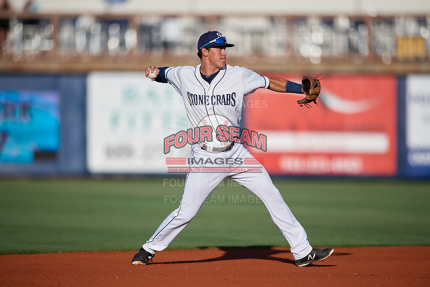 Charlotte Stone Crabs shortstop Tristan Gray (9) throws to first base during a game against the Palm Beach Cardinals on April 20, 2018 at Charlotte Sports Park in Port Charlotte, Florida.  Charlotte defeated Palm Beach 4-3.  (Mike Janes/Four Seam Images)