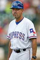 Round Rock Express coach Spike Owen during a game against the Memphis Redbirds at the Dell Diamond on July 7, 2011in Round Rock, Texas.  Round Rock defeated Memphis 6-4.  (Andrew Woolley / Four Seam Images)