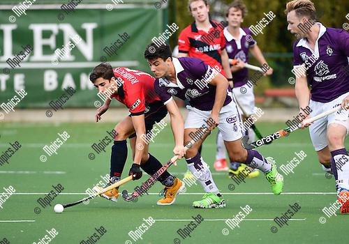 2016-10-16 / Hockeyl / Seizoen 2016-2017 / Beerschot - Dragons / Mathieu Rombouts met Isidoro Ibarra (Beerschot)<br /> <br /> ,Foto: Mpics.be
