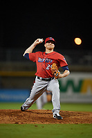 Jacksonville Jumbo Shrimp relief pitcher Brett Graves (24) during a Southern League game against the Mississippi Braves on May 4, 2019 at Trustmark Park in Pearl, Mississippi.  Mississippi defeated Jacksonville 2-0.  (Mike Janes/Four Seam Images)