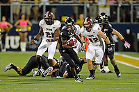 25 October 2011:  FIU wide receiver T.Y. Hilton (4) breaks into the open with Troy linebacker Brannon Bryan (42) in pursuit in the second quarter as the FIU Golden Panthers defeated the Troy University Trojans, 23-20 in overtime, at FIU Stadium in Miami, Florida.