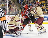 Parker Milner (BC - 35), Braden Pimm (Northeastern - 14), Tommy Cross (BC - 4) - The Boston College Eagles defeated the Northeastern University Huskies 7-1 in the opening round of the 2012 Beanpot on Monday, February 6, 2012, at TD Garden in Boston, Massachusetts.