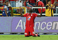 CALI -COLOMBIA, 4-10-2016. Cristian Borja   jugador del América de Cali  celebra su gol contra el Valledupar durante encuentro  por la fecha14 del torneo  Aguila II 2016 disputado en el estadio Pascual Guerrero./ Cristian Borja  player of America de Cali  celebrates his goal against Valledupar during match for the date 14 of the Aguila tournament II 2016 played at Pascual Guerrero stadium in Cali. Photo:VizzorImage / Juan Carlos Quintero  / Cont