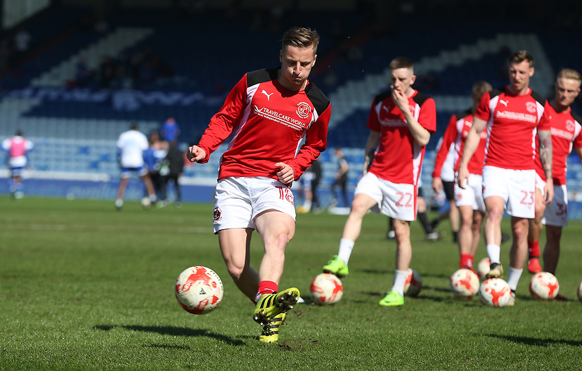 Fleetwood Town's George Glendon during the pre-match warm-up <br /> <br /> Photographer Stephen White/CameraSport<br /> <br /> The EFL Sky Bet League One - Oldham Athletic v Fleetwood Town - Saturday 8th April 2017 - SportsDirect.com Park - Oldham<br /> <br /> World Copyright &copy; 2017 CameraSport. All rights reserved. 43 Linden Ave. Countesthorpe. Leicester. England. LE8 5PG - Tel: +44 (0) 116 277 4147 - admin@camerasport.com - www.camerasport.com