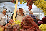 Palestinians attend the Palestinian grapes festival in Halhoul village, near the West Bank city of Hebron, on September 10, 2018. Hebron is very famous in grape production as it contains many fields of grapes, the summer is the season of harvesting. Photo by Shadi Hatem