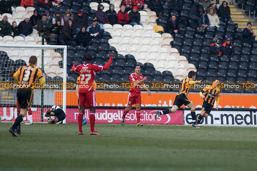 Robert Koren (Hull City) score number 2. - Hull City vs Bristol City - nPower Championship Football at the KC Stadium, Kingston upon Hull - 11/02/12 - MANDATORY CREDIT: Mark Hodsman/TGSPHOTO - Self billing applies where appropriate - 0845 094 6026 - contact@tgsphoto.co.uk - NO UNPAID USE.