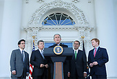 United States President George W. Bush delivers remarks following a meeting with the House Republican Conference at the White House in Washington on October 30, 2007. Bush, who accused Congress of not getting their job done, was joined by (L-R) US Representative Eric Cantor (Republican of Virginia), US Representative Roy Blunt (Republican of Missouri), US House Minority Leader John Boehner (Republican of Ohio) and US Representative Adam Putnam (Republican of Florida). <br /> Credit: Kevin Dietsch / Pool via CNP