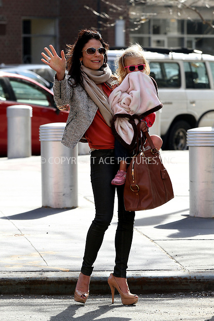 WWW.ACEPIXS.COM....April 24 2013, New York City....TV personality Bethenny Frankel picked up her daughter Bryn Hoppy from school and took her for a walk and ice cream in a downtown park on April 24 2013 in New York City ........By Line: Zelig Shaul/ACE Pictures......ACE Pictures, Inc...tel: 646 769 0430..Email: info@acepixs.com..www.acepixs.com