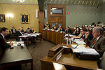 The second day of House impeachment committee hearings about Gov. Rod Blagojevich at the Illinois State Capitol in Springfield, Ill., Dec. 17, 2008. At far left is counsel for the committee David Ellis, at far right is Rep. Roger L. Eddy, R-Hutsonville..Kristen Schmid Schurter