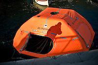 Island of Giglio, Italy, January 15, 2012. Una scialuppa di salvataggio della Concordia utilizzata per abbandonare la nave.A lifeboat used to abandon the cruise ship Costa Concordia.