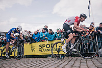 Tiesj Benoot (BEL/Lotto-Soudal) up the last ascent of the Paterberg<br /> <br /> 102nd Ronde van Vlaanderen 2018 (1.UWT)<br /> Antwerpen - Oudenaarde (BEL): 265km