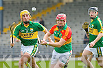 John Griffin Kerry and Richard Coady Carlow in action during their Allianz Hurling league clash in Fitzgerald Stadium on Sunday