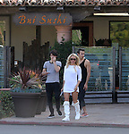 Feb  1st  2016   Exclusive <br /> <br /> Pamela Anderson leaving Bui Sushi restaurant with her two kids in Malibu California. Pam was wearing a tight short dress &amp; long white knee high UGG boots <br /> <br /> www.AbilityFilms.com<br /> 805 427 3519 <br /> AbilityFilms@yahoo.com