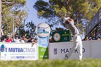 Adrian Otaegui (ESP) on the 10th tee during the third round of the Mutuactivos Open de Espana, Club de Campo Villa de Madrid, Madrid, Madrid, Spain. 05/10/2019.<br /> Picture Hugo Alcalde / Golffile.ie<br /> <br /> All photo usage must carry mandatory copyright credit (© Golffile | Hugo Alcalde)