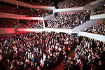 "© Joel Goodman - 07973 332324 . 05/02/2016 . Manchester , UK . The audience . "" Hacienda Classical "" debut at the Bridgewater Hall . The 70 piece Manchester Camerata and performers including New Order's Peter Hook , Shaun Ryder , Rowetta Idah , Bez and Hacienda DJs Graeme Park and Mike Pickering mixing live compositions . Photo credit : Joel Goodman"