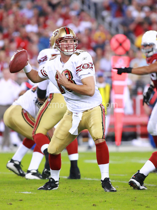 Nov 10, 2008; Glendale, AZ, USA; San Francisco 49ers quarterback Shaun Hill (13) throws a pass in the first quarter of a Monday Night Football game against the Arizona Cardinals at University of Phoenix Stadium.  The Cardinals won the game 29-24.