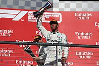 3rd November 2019; Circuit of the Americas, Austin, Texas, United States of America; Formula 1 United States Grand Prix, race day; Mercedes AMG Petronas Motorsport, Lewis Hamilton, on the podium - Editorial Use
