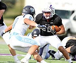 SIOUX FALLS, SD - OCTOBER 27: Colton Myles #30 from the University of Sioux Falls looks to make a move past Isaac Barrett #11 from Upper Iowa during their game Saturday at Bob Young Field in Sioux Falls. (Photo by Dave Eggen/Inertia)