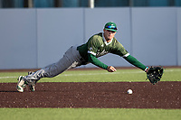 Eastern Michigan Eagles third baseman Devin Hager (23) dives for a ground ball during the NCAA baseball game against the Michigan Wolverines on May 8, 2019 at Ray Fisher Stadium in Ann Arbor, Michigan. Michigan defeated Eastern Michigan 10-1. (Andrew Woolley/Four Seam Images)
