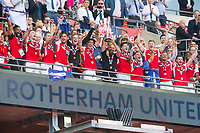 Rotherham players celebrating after the Sky Bet League 1 Play Off FINAL match between Rotherham United and Shrewsbury Town at Wembley, London, England on 27 May 2018. Photo by Andrew Aleksiejczuk / PRiME Media Images.