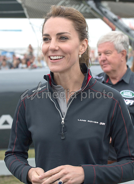 24 July 2016 - Princess Kate Duchess of Cambridge at the America's Cup World Series Race in Portsmouth. The royal couple visited the home of the British competitors for the America's Cup before observing the ongoing competition. Photo Credit: ALPR/AdMedia