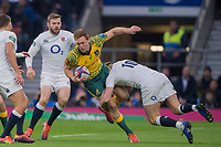 Twickenham, United Kingdom, Saturday, 24th  November 2018, RFU, Rugby, Stadium, England, No.10, Owen FARRELL, tackling,  Dane Haylett-Petty,, during the Quilter Autumn International, England vs Australia, © Peter Spurrier