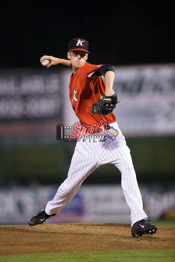 Kannapolis Intimidators relief pitcher Jack Charleston (25) in action against the Hagerstown Suns at Kannapolis Intimidators Stadium on May 5, 2016 in Kannapolis, North Carolina.  The Suns defeated the Intimidators 7-0.  (Brian Westerholt/Four Seam Images)