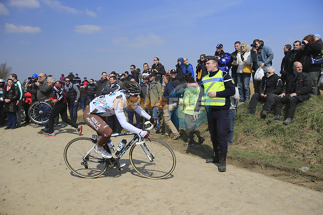 Riders including Davide Appollonio (ITA) AG2R La Mondiale tackle pave section 25 of Quievy a Saint-Python during the 111th edition of the 2013 Paris-Roubaix cycle race, France 7th April2013 (Photo by Eoin Clarke 2013)