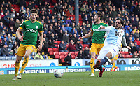 Blackburn Rovers' Danny Graham shoots for goal but his effort is disallowed by Referee Oliver Langford <br /> <br /> Photographer Rich Linley/CameraSport<br /> <br /> The EFL Sky Bet Championship - Blackburn Rovers v Preston North End - Saturday 9th March 2019 - Ewood Park - Blackburn<br /> <br /> World Copyright © 2019 CameraSport. All rights reserved. 43 Linden Ave. Countesthorpe. Leicester. England. LE8 5PG - Tel: +44 (0) 116 277 4147 - admin@camerasport.com - www.camerasport.com