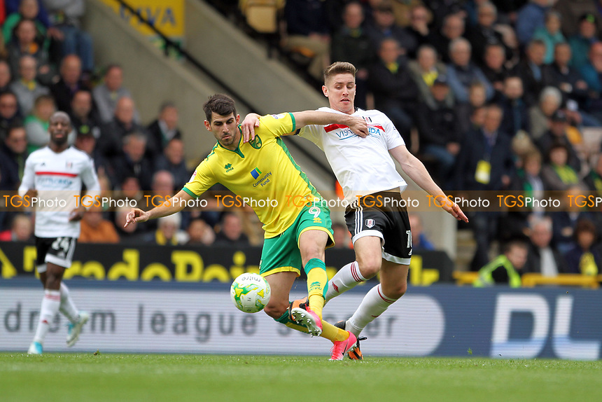 Nelson Oliveira of Norwich City holds off Tom Cairney of Fulham during Norwich City vs Fulham, Sky Bet EFL Championship Football at Carrow Road on 14th April 2017