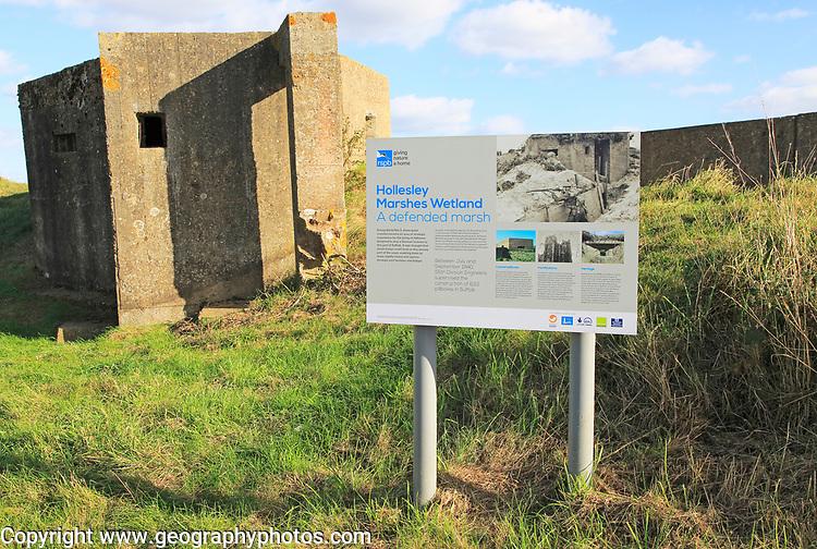RSPB Information sign Hollesley Marshes Wetland, Hollesley, Suffolk, England, UK