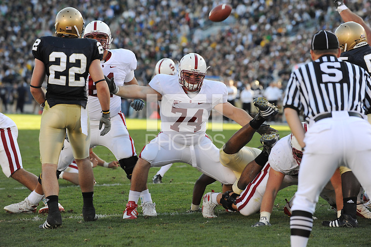 South Bend, IN - OCTOBER 4:  Defensive tackle James McGillicuddy #74 of the Stanford Cardinal during Stanford's 28-21 loss against the Notre Dame Fighting Irish on October 4, 2008 at Notre Dame Stadium in South Bend, Indiana.