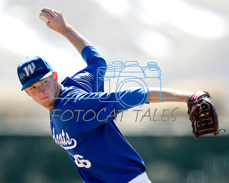 Western Nevada's Cody Hamlin pitches in a college baseball game against Salt Lake Community College, in Carson City, Nev., on Friday, March 1, 2013. SLCC won the first game 3-2. .Photo by Cathleen Allison/Nevada Photo Source