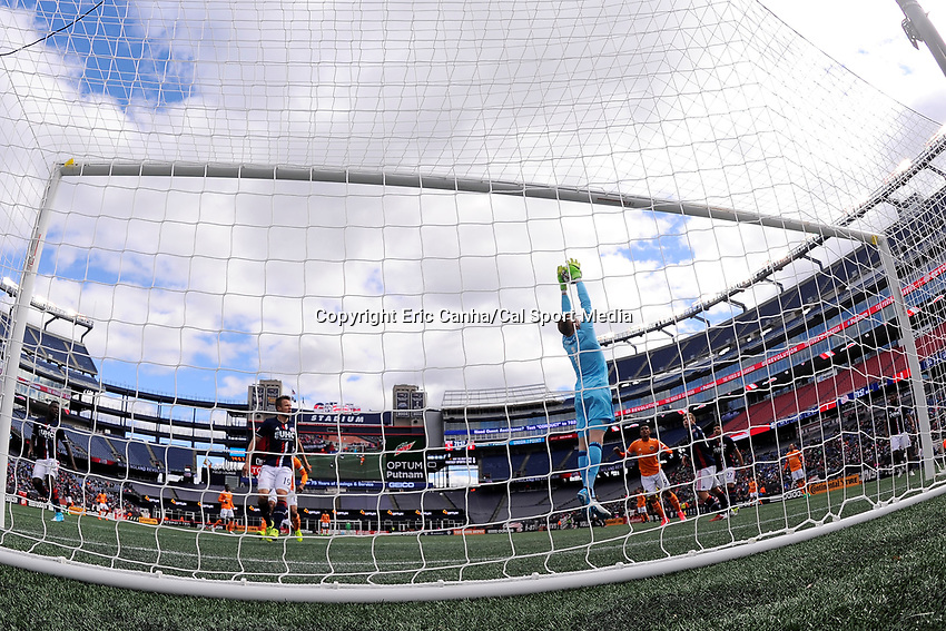 Saturday, April 8, 2017: New England Revolution goalkeeper Cody Cropper (1) makes a save during the MLS game between Houston Dynamo and the New England Revolution held at Gillette Stadium in Foxborough Massachusetts. New England defeats Houston 2-0. Eric Canha/CSM